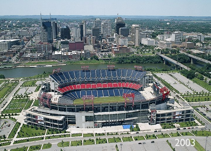 Aerial view Nissan Stadium, Nashville, Tennessee | Tennessee titans, Nissan stadium, Nfl stadiums