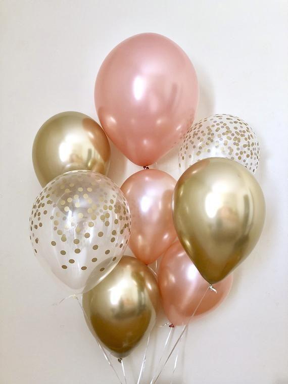 Rose Gold Chrom Gold & klar Gold Konfetti Latex Ballon,Geburtstag,Hochzeit, Brautdusche, Rose Gold Ballon, Gold Konfetti Aussehen Ballon, Chrome