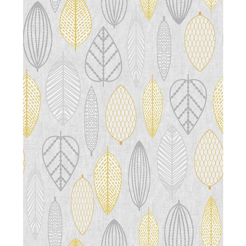 Superfresco Easy Highland Scandi Leaf Vinyl Strippable Roll Covers 56 Sq Ft 104871 The Home Depot In 2021 Yellow Wallpaper Leaf Wallpaper Wall Wallpaper