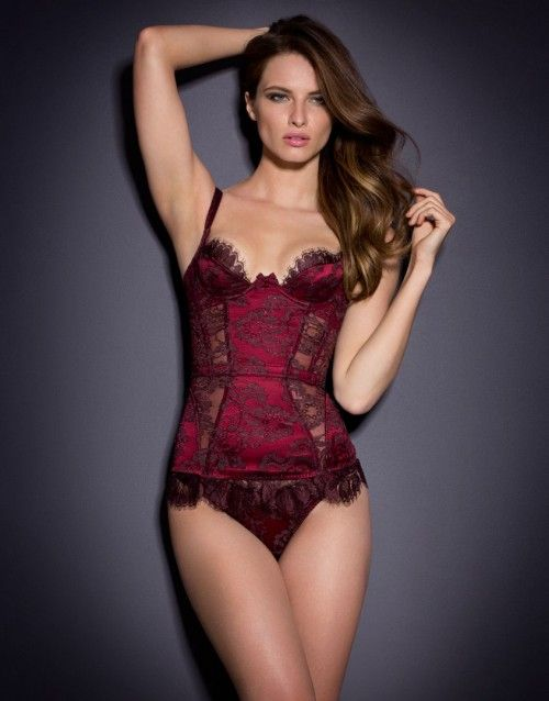 1165acdd01 Agent Provocateur Mei Corset Dark Red ( 235) ❤ liked on Polyvore featuring  intimates