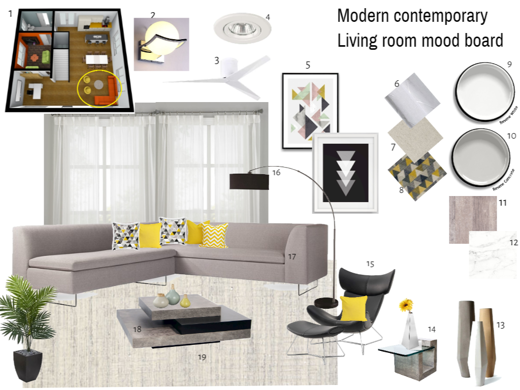 A Modern Contemporary Living Room Mood Board With Achromatic Colour Background And Modern Contemporary Living Room Contemporary Living Contemporary Living Room