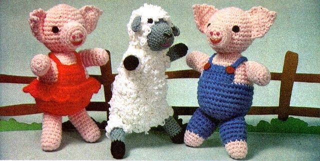 Free Amigurumi Lamb : Piggy twins inches tall and loopy lamb inches tall free