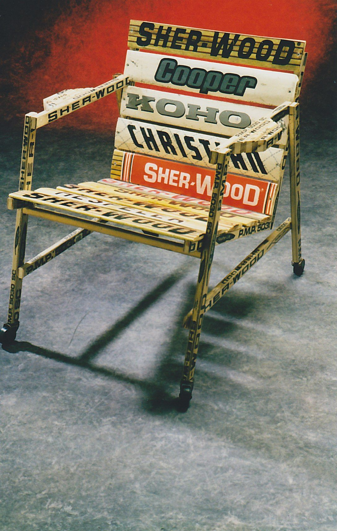 A Chair Made From Forward And Goalie Sticks.