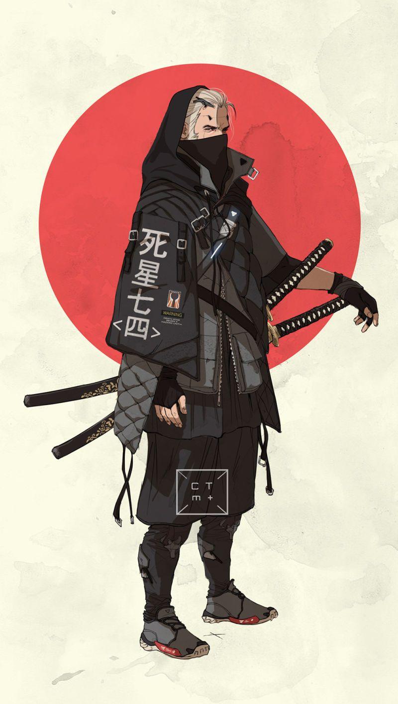 Anime guy with samurai swords. Character art, Anime