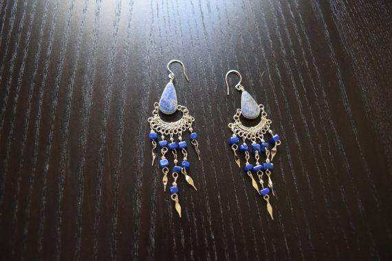 Cute Navy Blue Sodalite Stone Peruvian Earrings by SassyandCool