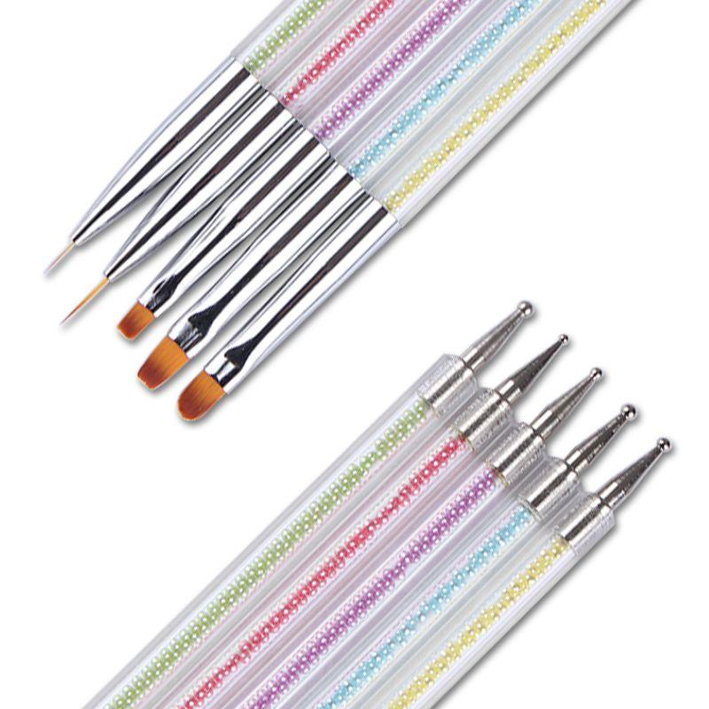 5Pcs Dual-ended Liner UV Gel Brush Dotting Pen Colorful Bead Handle Manicure Nail Art Brush Tool Set