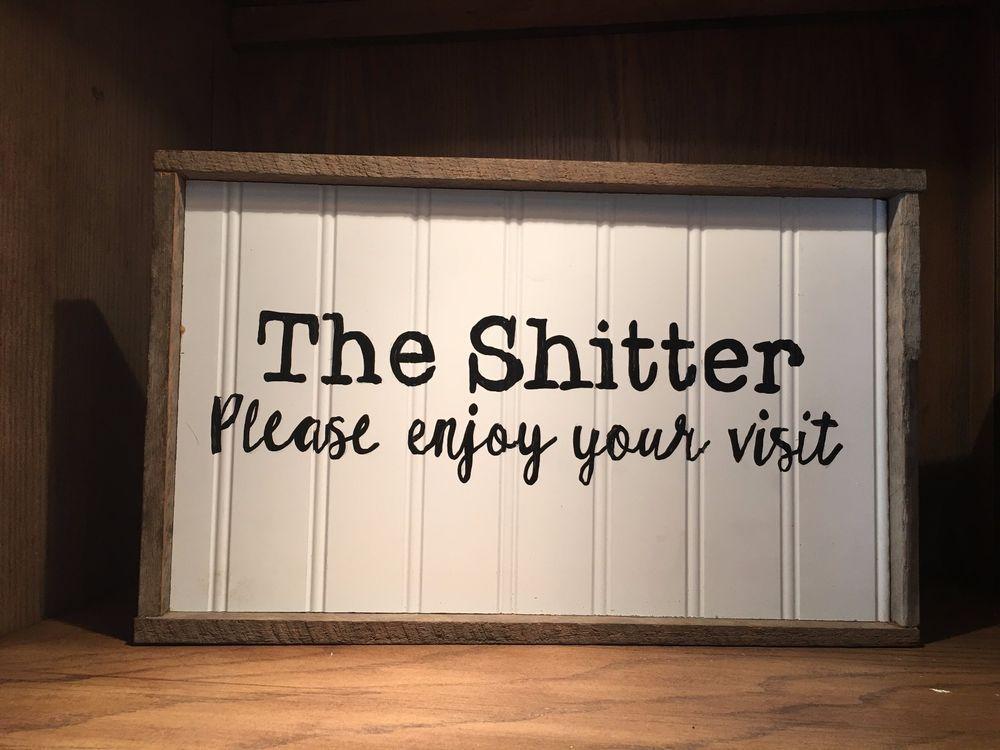 Bathroom Signs Ebay bathroom rustic wood sign, farmhouse style, home decor, toilet