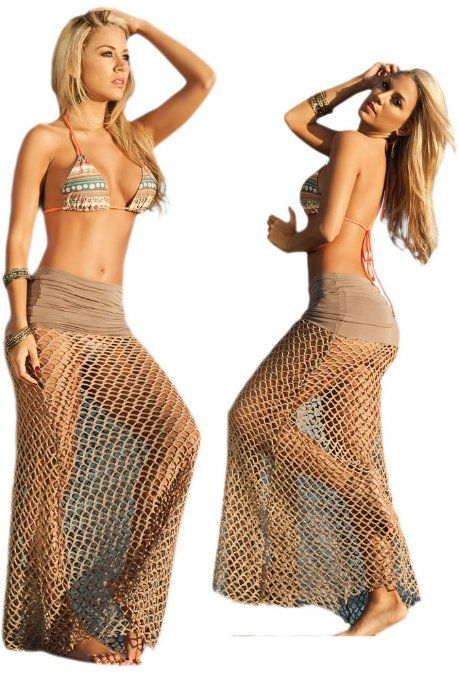 f808abc127330 Sexy Mocha Brown Beach Pool Net Skirt Cover Up Dress | Swimsuit ...