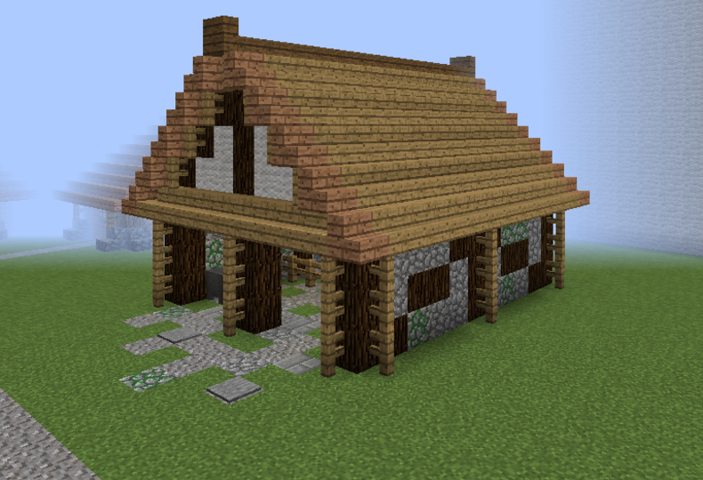 Medieval Community Tiny Barn Grabcraft Your Number One Source For Minecraft Buildings Blueprints Tips I Minecraft Barn Minecraft Farm Minecraft Medieval