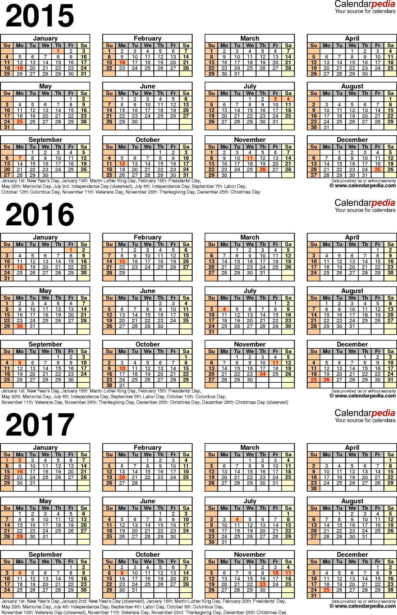 excel 2015 year calendar