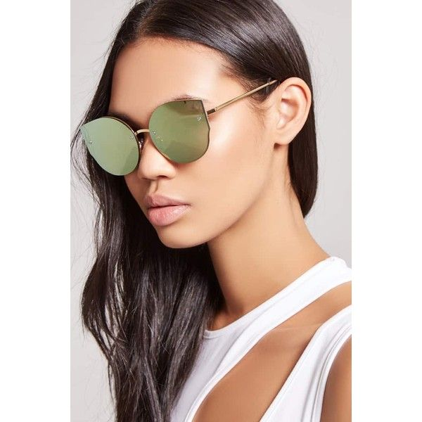 e12d663ba90 Forever21 Rimless Cat-Eye Sunglasses ( 9.90) ❤ liked on Polyvore featuring  accessories