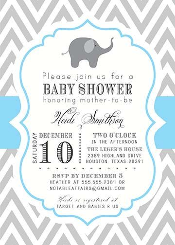 Printable Gray And Blue Chevron With Elephant Baby Boy Shower Invitation Colors Can Be Changed 15 00 Via Etsy