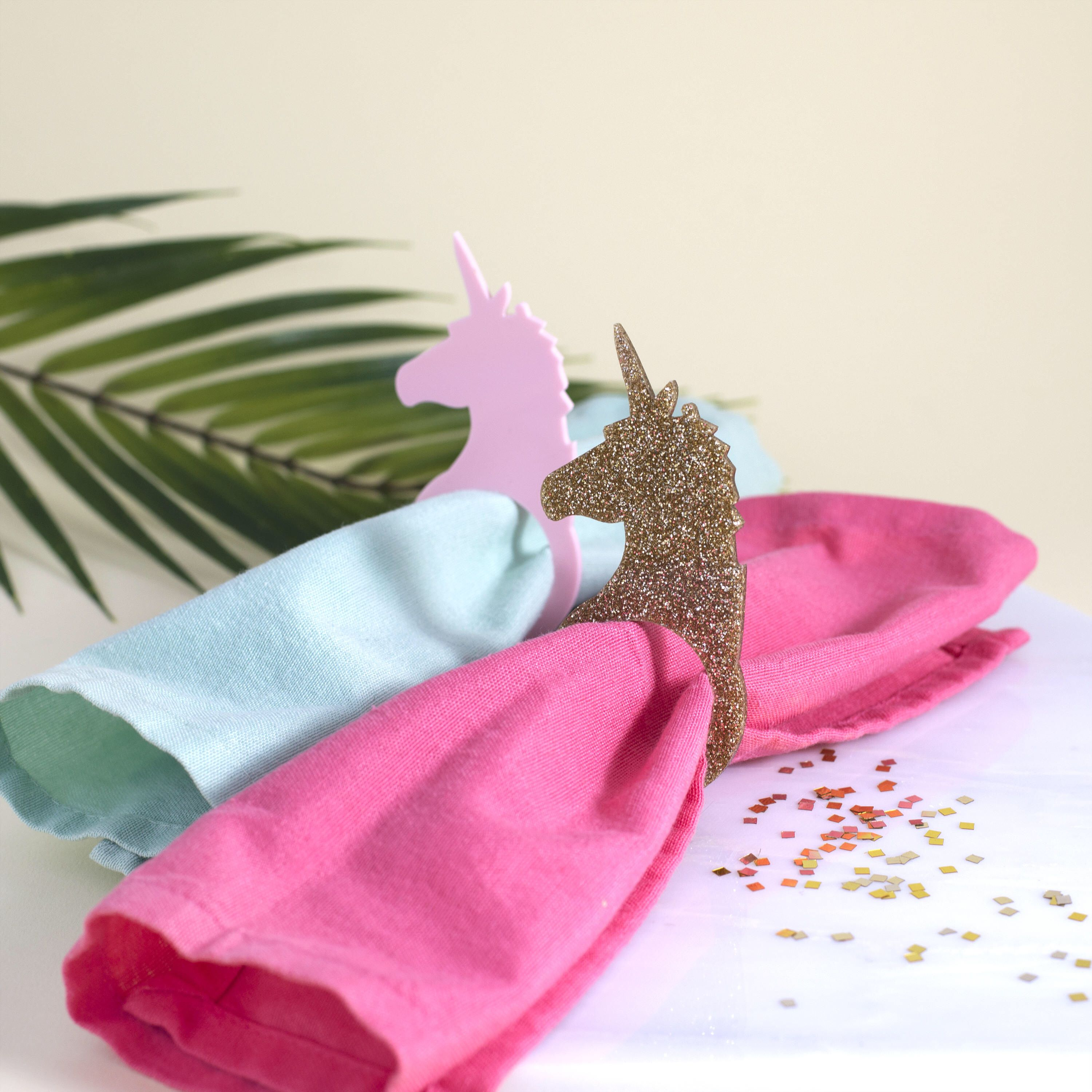 Unicorn Napkin Rings in Pink or Gold - Party Napkin Rings, Wedding ...