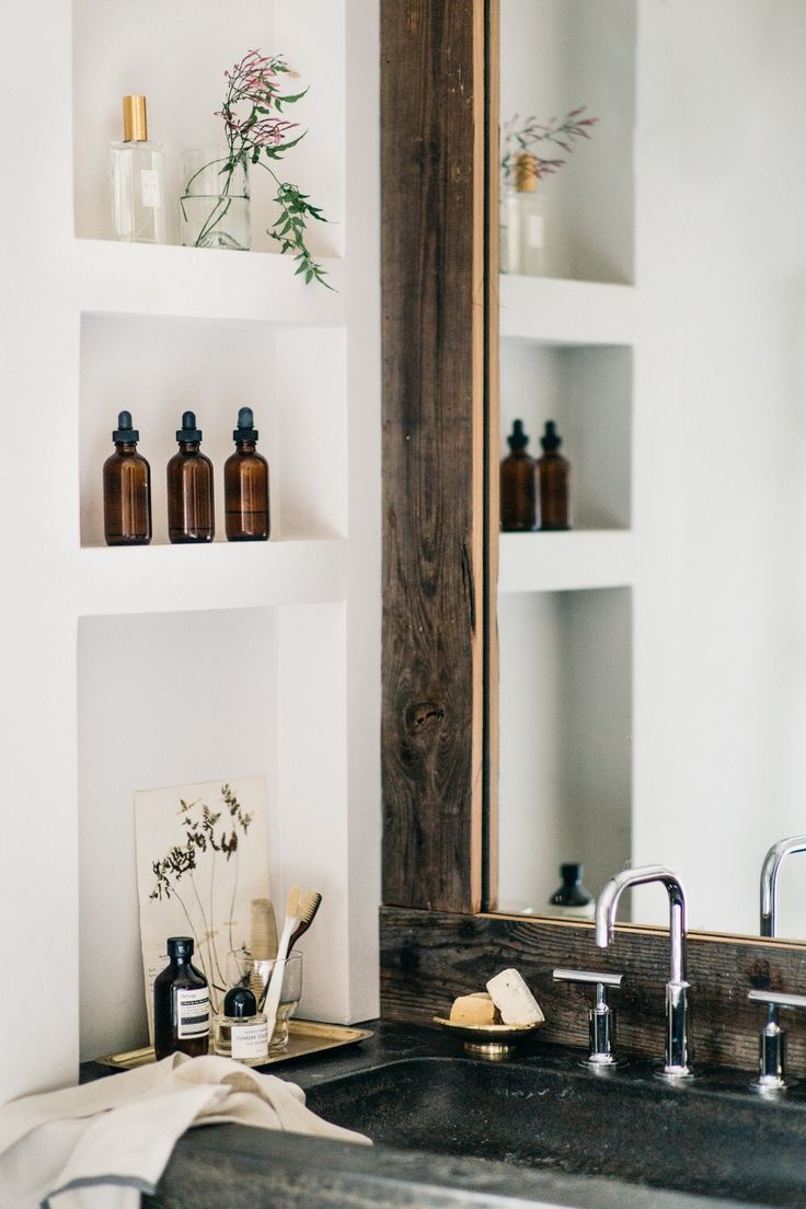Bathroom storage inspiration | The Lifestyle Edit Again... I like the dark colours