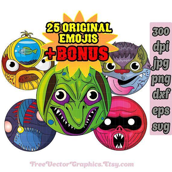 Halloween monster clip art svg bundle emoji face svg emoji smiley - halloween decoration printables
