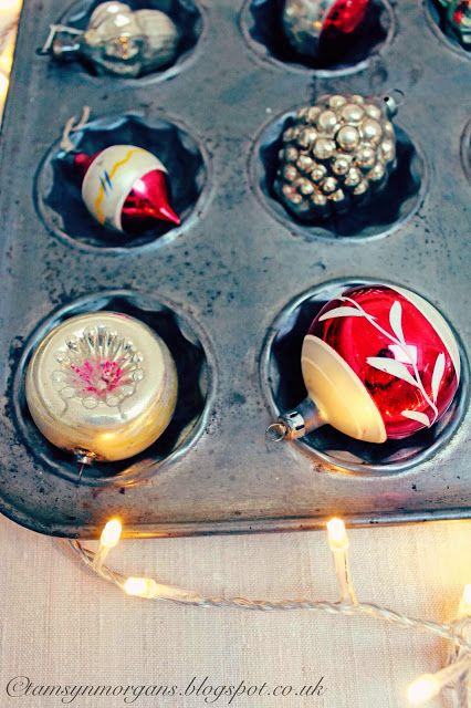 Beautiful #vintage #baubles displayed in old baking trays #christmas  The Villa on Mount Pleasant