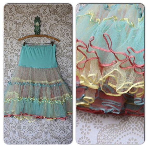 Vintage 1950's Multicolored Crinoline Petticoat by pursuingandie, $72.50