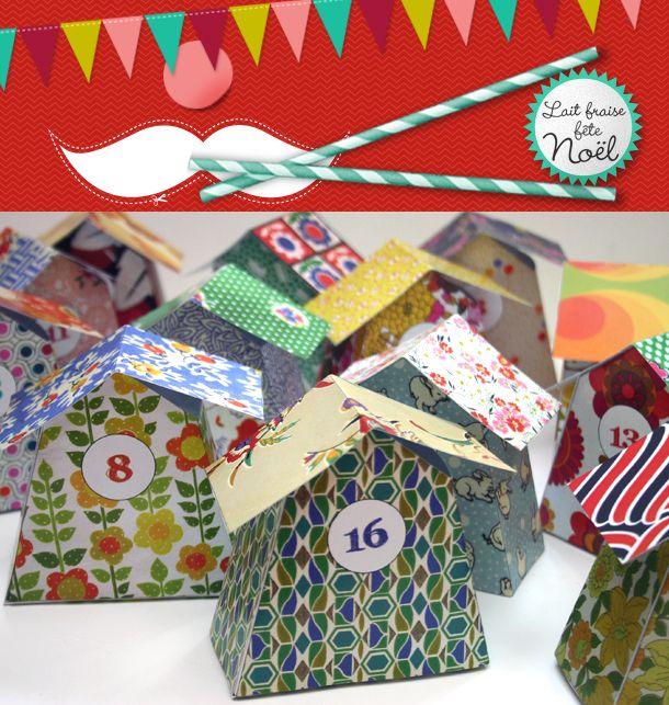 Adorable Advent calendar bird houses free printable via Lait