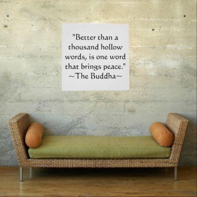 One Word Peace Buddhist Print   Zazzle com   Buddha Quotes