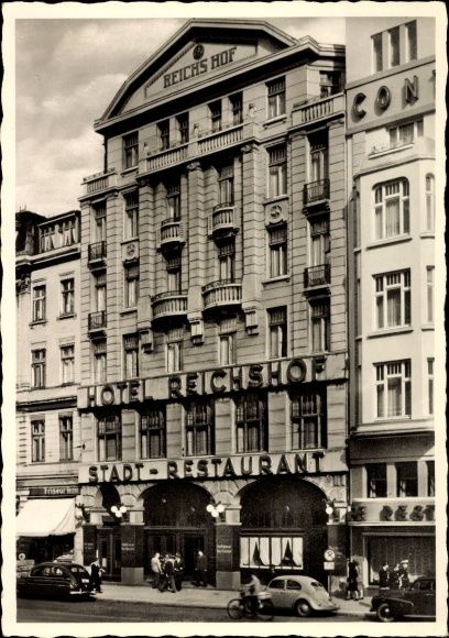 ansichtskarte postkarte hamburg altstadt hotel reichshof restaurant gegen ber dem. Black Bedroom Furniture Sets. Home Design Ideas