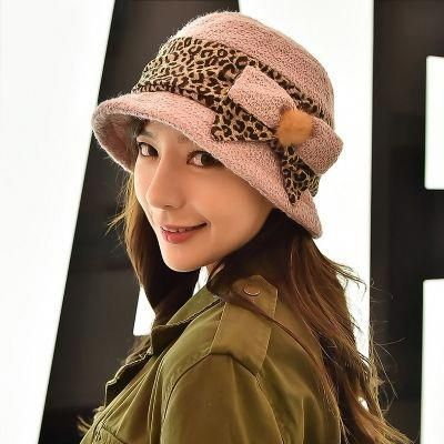 8b566df27c4 Leopard Print Style Fall Winter Knitted Warm Bucket Hat for Women   hatsforwomenautumn