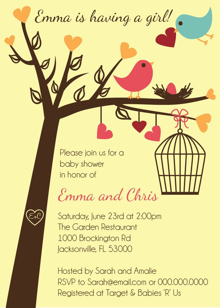 Love Birds Baby Shower Invitation - Printable Digital Invitation ...