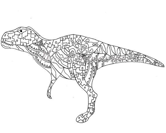 Trex Coloring Page Digital Download