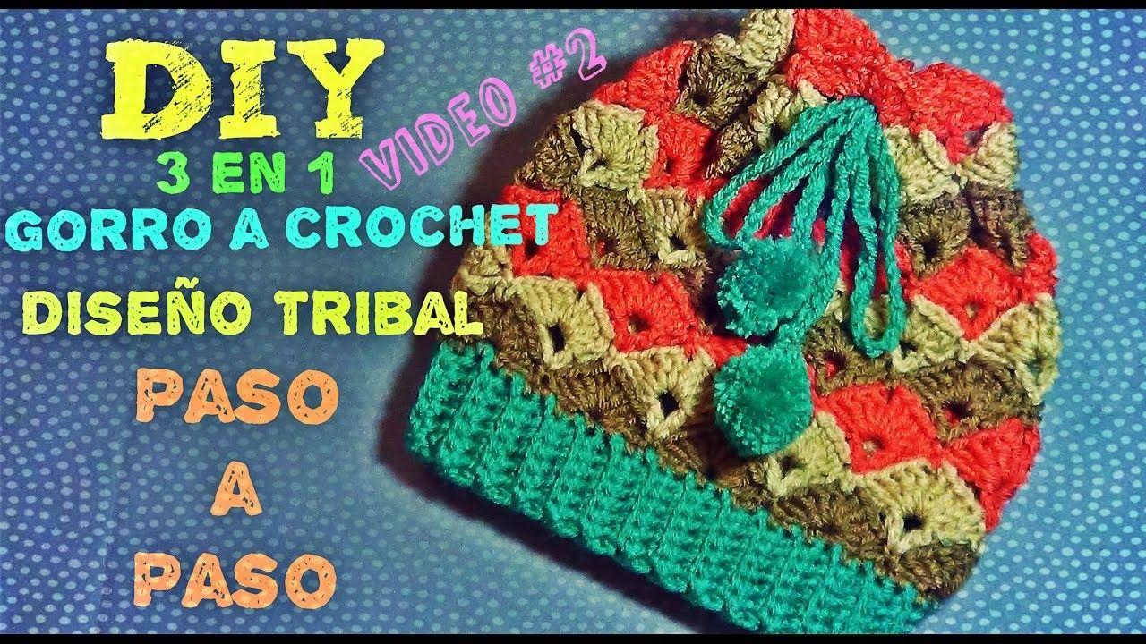 Gorro Tejido a Crochet Diseño Tribal - 3 en 1 - Aprende a Tejerlo ...