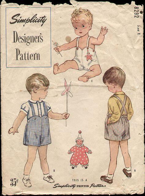 Simplicity 8292 1950 Toddler Sun Suit Vintage Kids