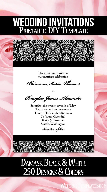 Damask Wedding Invitation Black White | Wedding and Wedding