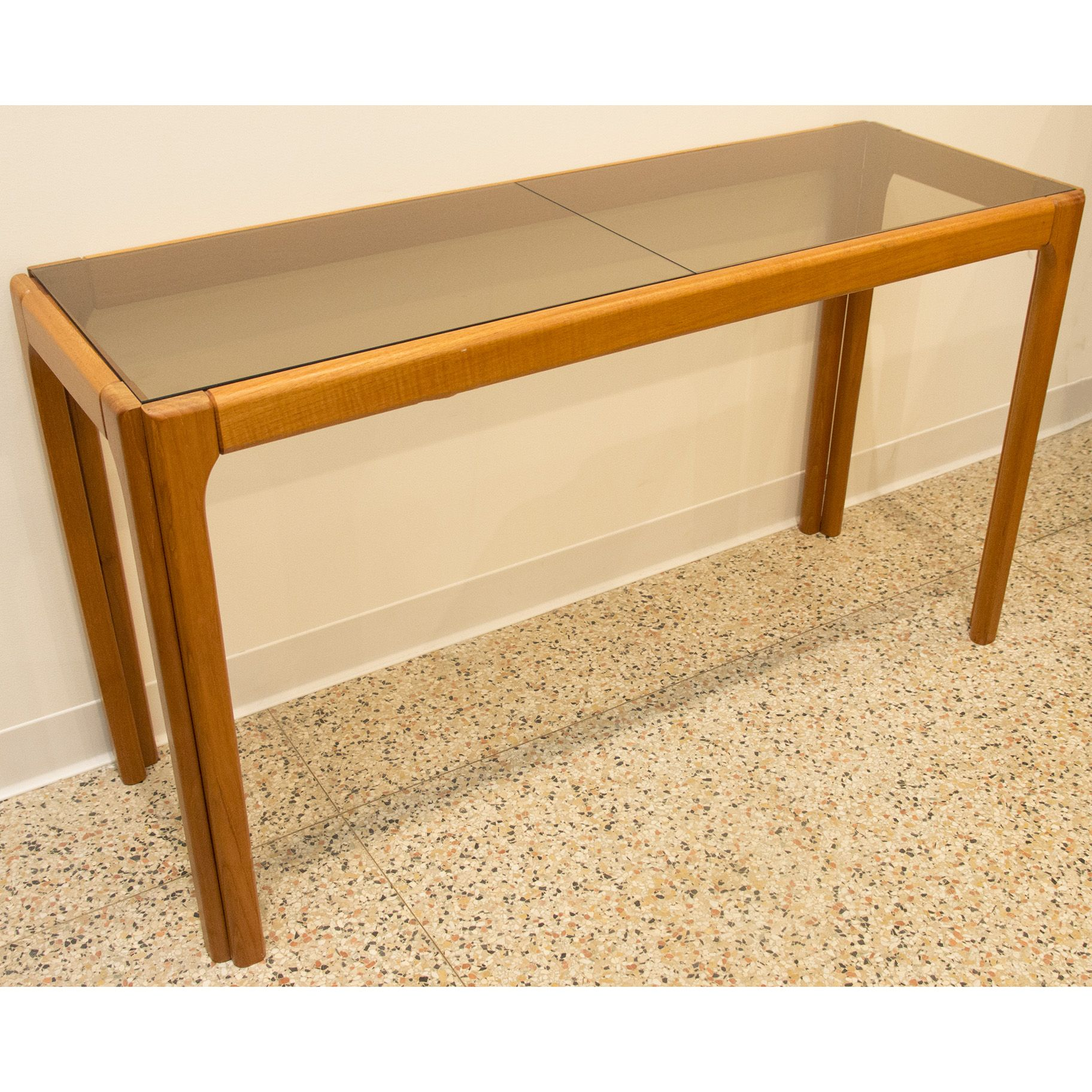 Attrayant Danish Modern Teak Console Table With Smoked Glass Top