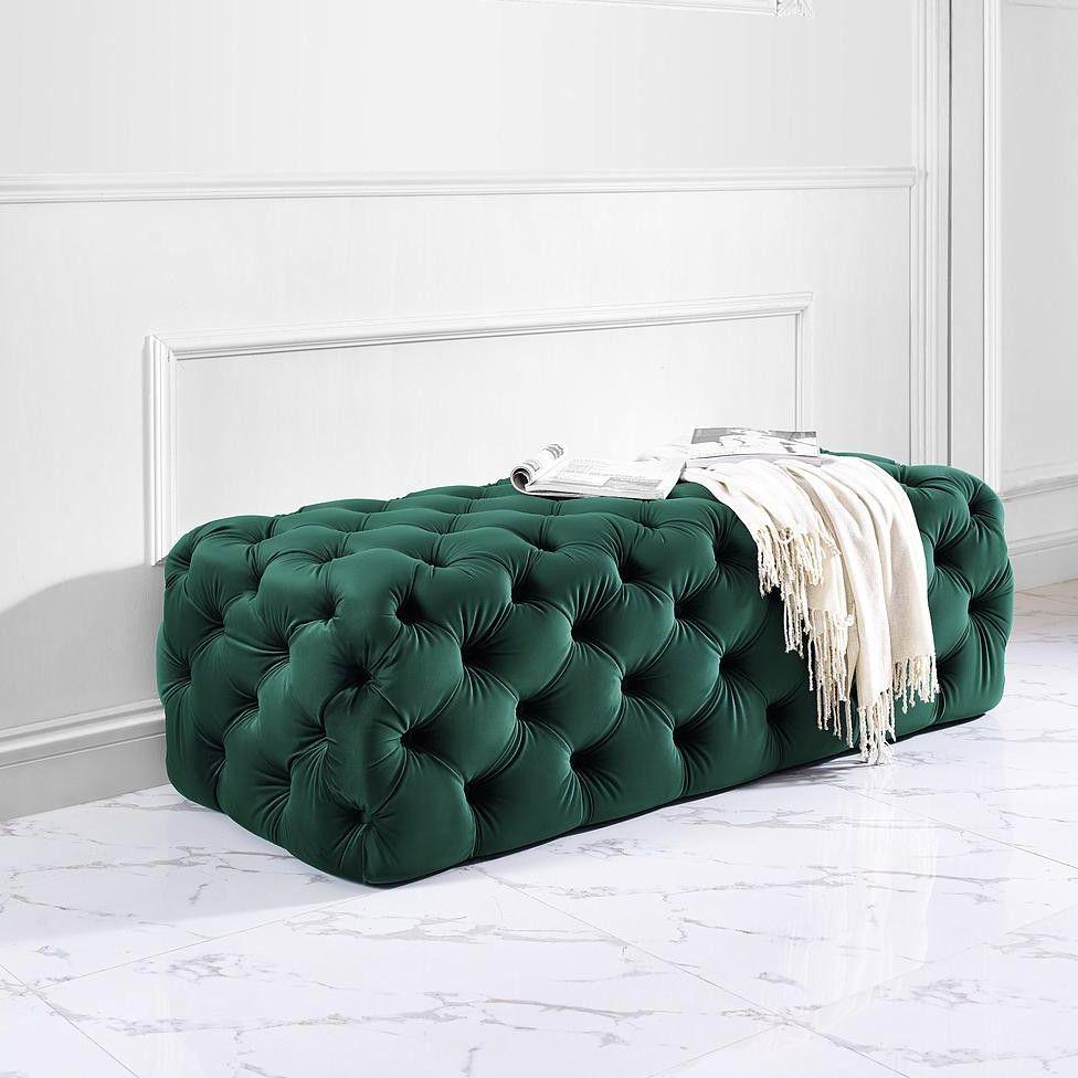 Monica Tufted Velvet Ottoman: Emerald | Furniture | Pinterest ...