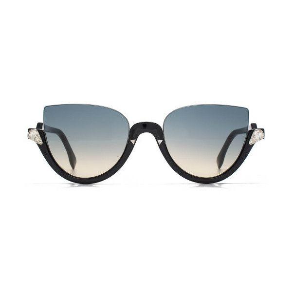 Fendi Blink Cateye Sunglasses ($360) ❤ liked on Polyvore featuring accessories, eyewear, sunglasses, blue, blue lens glasses, blue glasses, cateye sunglasses, fendi eyewear and blue cat eye glasses