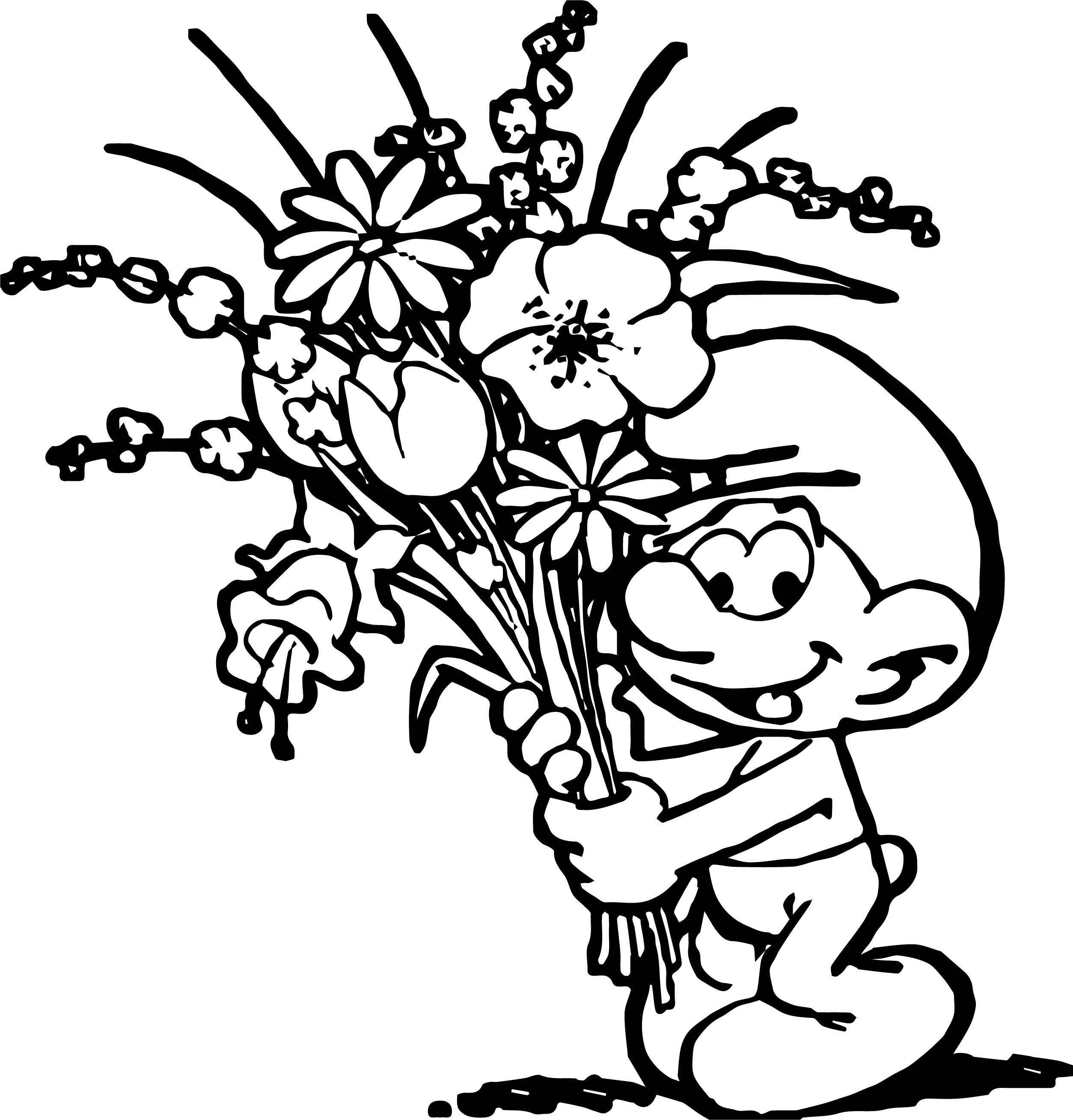 Nice Smurf Flower Coloring Page Flower Coloring Pages Dog Coloring Page Disney Coloring Pages