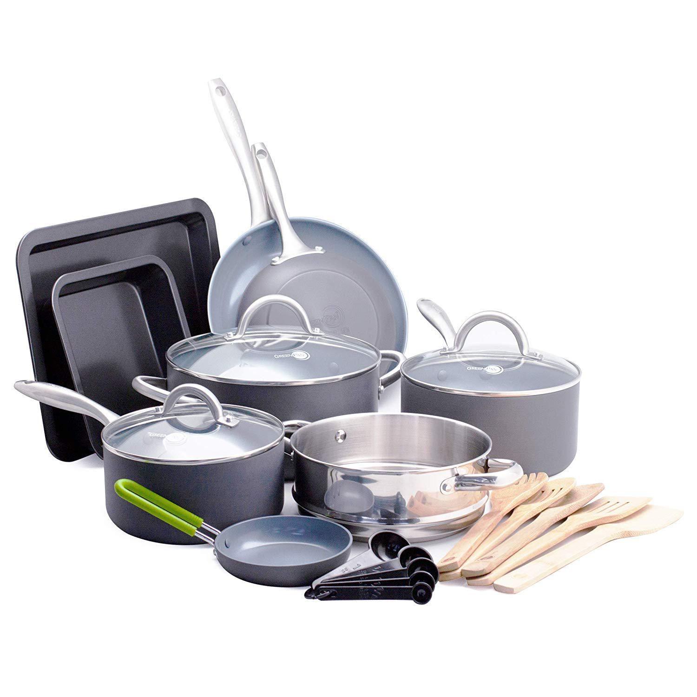 Greenpan Lima Ceramic Nonstick Cookware Set 18pc Kitchen Amp