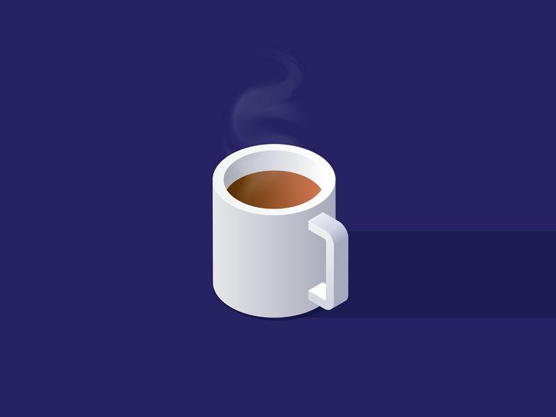 Isometric cup of coffee icon em 2020   Eu amo café