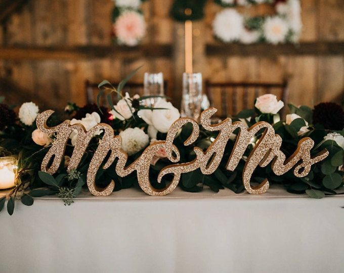 Glitter Mr and Mrs Sign for Wedding Sweetheart Table Mr