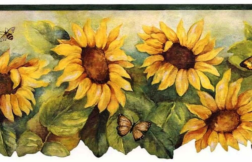 Sunflower Green Edge Wallpaper Border Bg71362dc Girasoli Decoupage Immagini