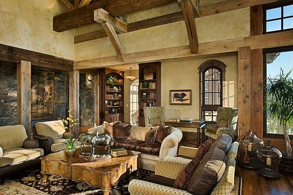 Mountain lodge timber posts and beams rustic ski lodge - Lodge living room decorating ideas ...