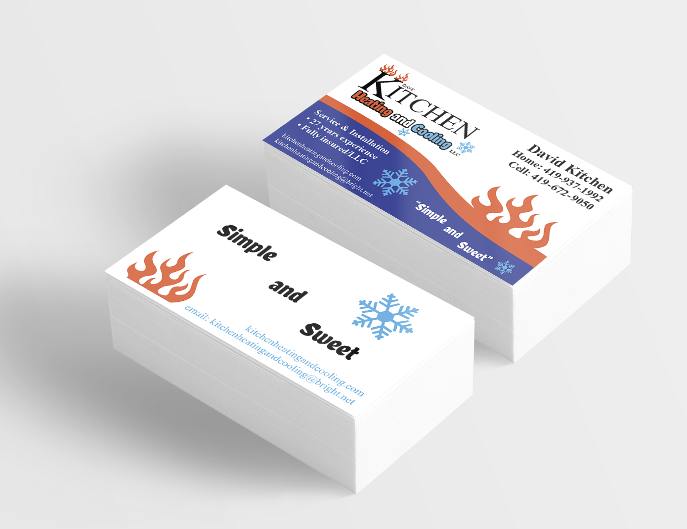 Business Card Design For Kitchen Heating And Cooling Fostoria Oh