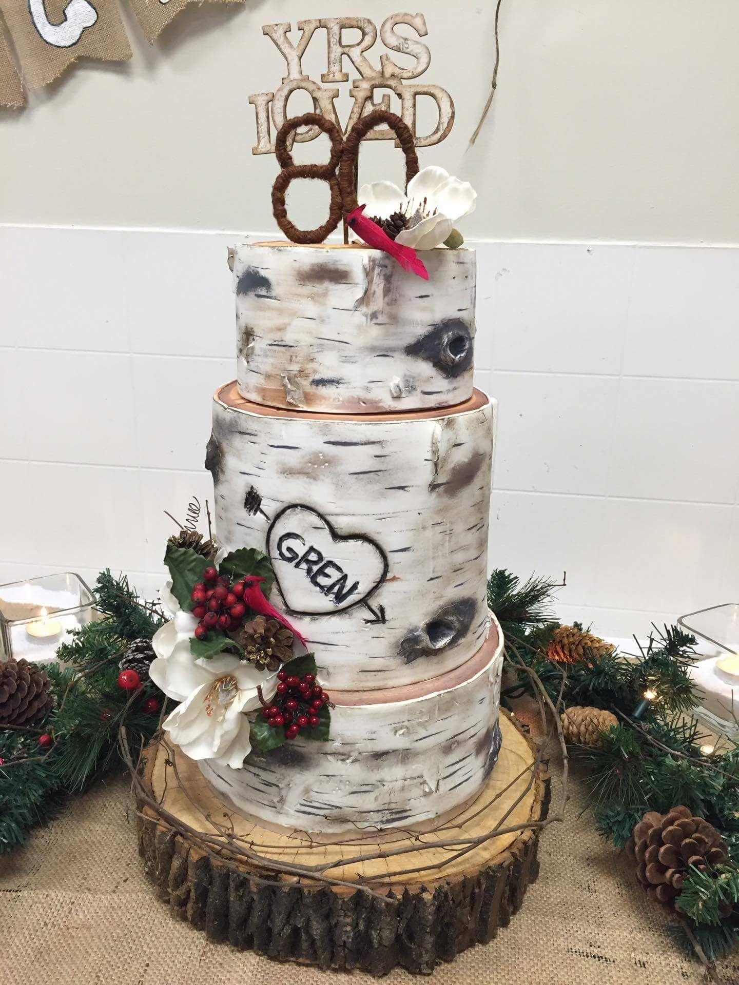 Birch Tree Stump Cake Top And Bottom Tiers Chocolate Coffee Cake