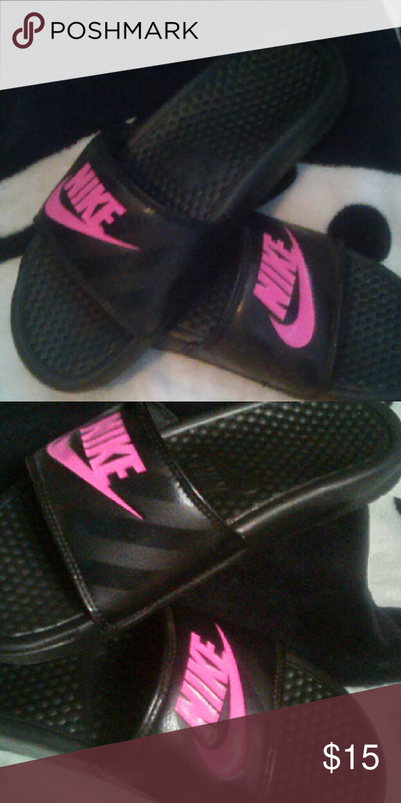 c2db78313a819 Nike Benassi JDI Slide Black Vivid Pink-Black Nike Slides. Brand New with no  wear on the inner or outer soles. Nike Shoes Sandals