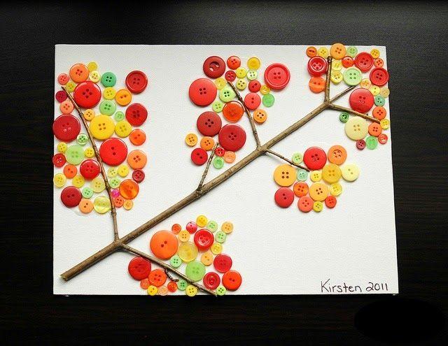 Artesanato Geraldi ~ Como fazer quadro de outono com colagem de botões para decoraç u00e3o ~ VillarteDesign Artesanato