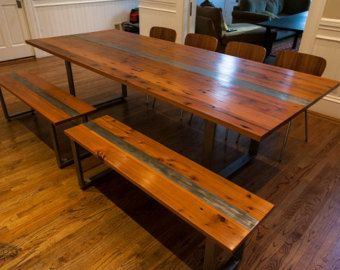 Reclaimed Redwood Conference Or Dining Table Steel By Mezworks Med Bilder Inredning Ideer For Hemmet