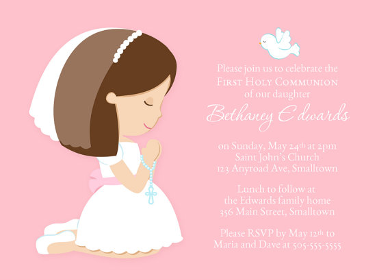 first communion invitation for a girl communion party invite holy
