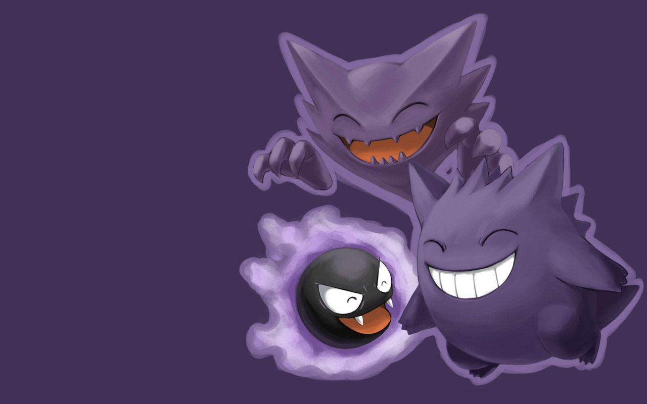 Wallpaper for your desktop s wallpaper gengar wallpaper high - Haunter Gastly Gengar Ghost Pokemons Wallpaper Free Download