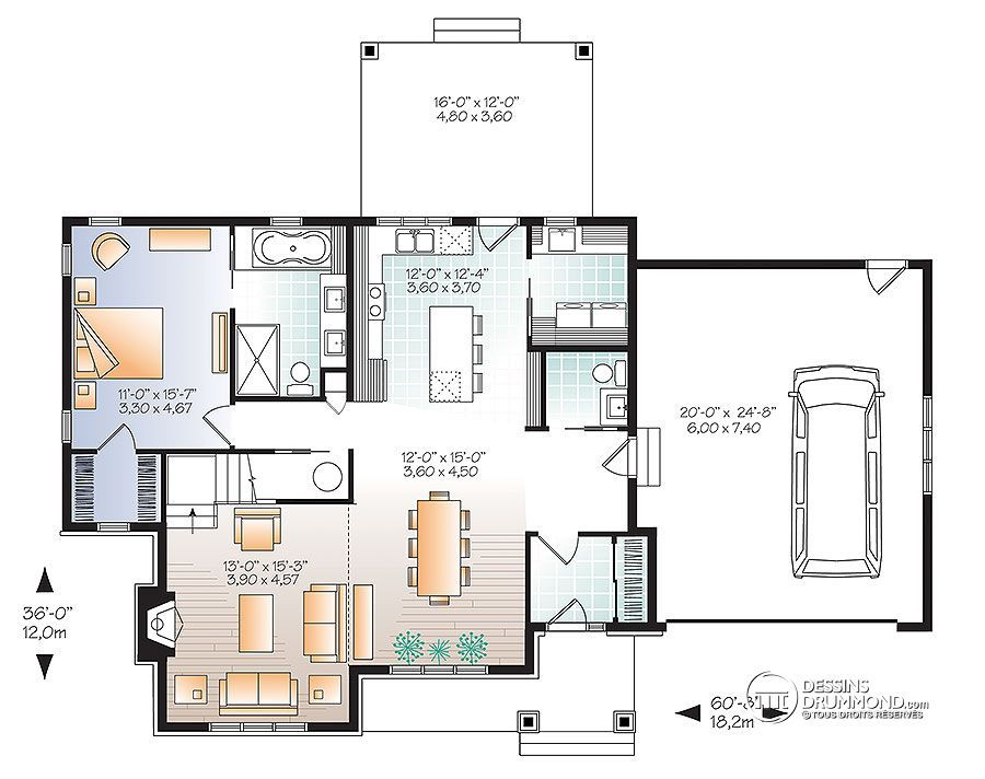Détail du plan de Maison unifamiliale W3507-V3 Maison Pinterest - plan de maison design