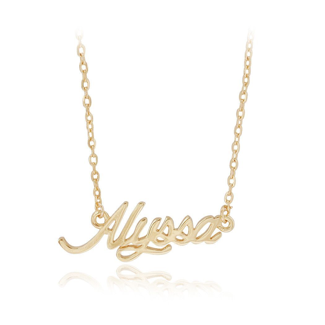 Cursive letter quot l quot cubic zirconia 14k gold finish pendant with 36 - Name Alyssa Pendant Golden Chain Necklace