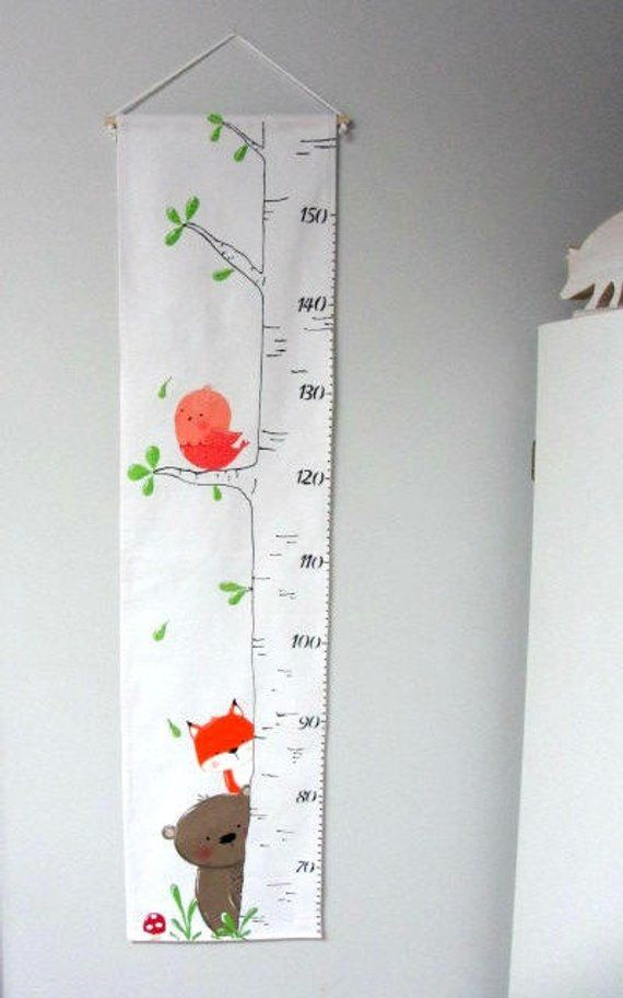 Forest Animal Growth Scale Size Scale Fabric Growth Rule Room Decoration Measurements Baby Fabric Growth Chart Growth Chart Growth Chart Ruler