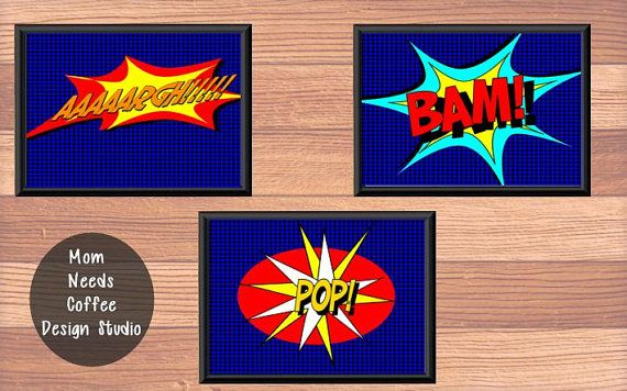 Comic Book Prints set of 3 Choose your Colors by MomNeedsCoffee, $24.00
